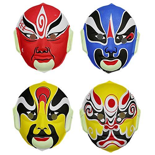 RSGK Peking-Oper Maske, chinesische Oper Maske, Kostüm Maske, Gesichtsmaske, rote Maske, Party Maske, Halloween-Maske, Wanddekoration Maske (4 Stück),A