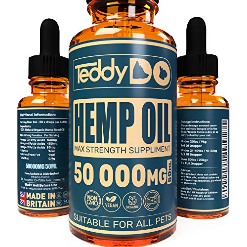 TeddyDo Hemp Oil for Dogs, Cats and Pets-Natural Organic Joint Care Supplement and Anxiety Reduction | For Soothing Arthritis and Pain Relief | 50ml | Rich in Omega 3,6,9 | Made and Certified in UK