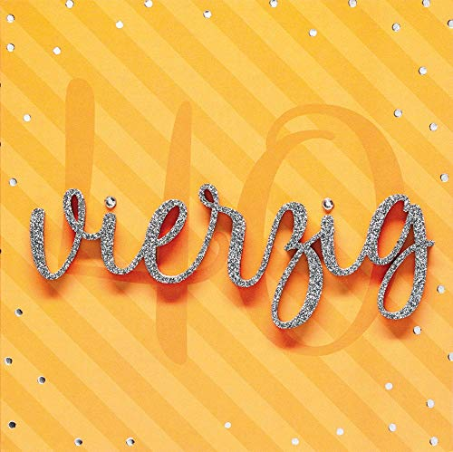 Geburtstagskarte zum 40. Geburtstag Lettering - vierzig - 15 x 15 cm
