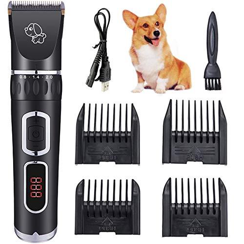 Dog Clippers Pet Grooming Clippers, USB oplaadbare draadloze hondenverzorgingsset, geluidsarm oplaadbare draadloze stille kat Dog Groomer Tool Haartrimmer Scheermesjes met kammen, zwart