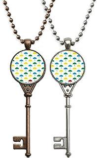Rain Umbrella Weather Cloud Key Necklace Pendant Jewelry Couple Decoration