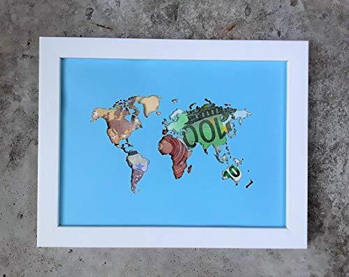 Geldgeschenk Weltkarte im Bilderrahmen, Hochzeitsgeschenk, Geburtstagsgeschenk, Geldverpackung (ohne Beschriftung)