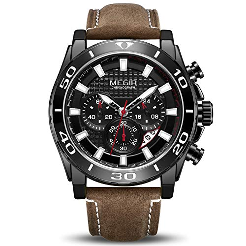 MEGIR Men's Business Analogue Chronograph Luminous Auto Calendar Quartz Wrist Watch with Stylish Black Leather Strap Alloy Case 2094 Black