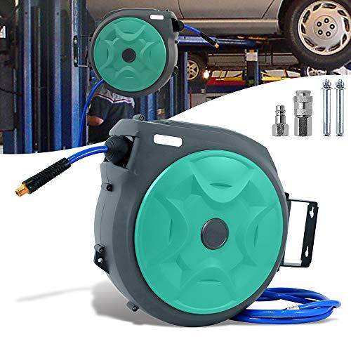 Froadp 20m Automatisch Druckluftschlauch Aufroller 1/4'' Anschluss Schlauchtrommel mit Schlauchstopp und Schnell-Verschlusskupplung Wandschlauchhalter Druckluftschlauch-trommel