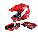 XFMT DOT Youth Kids Motocross Offroad Street Dirt Bike Helmet Youth Motorcycle ATV Helmet with Goggles Gloves Red Spider L