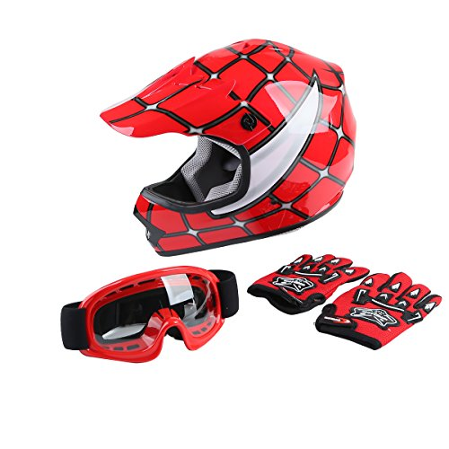 XFMT DOT Youth Kids Motocross Offroad Street Dirt Bike Helmet Youth Motorcycle ATV Helmet with Goggles Gloves Red Spider M