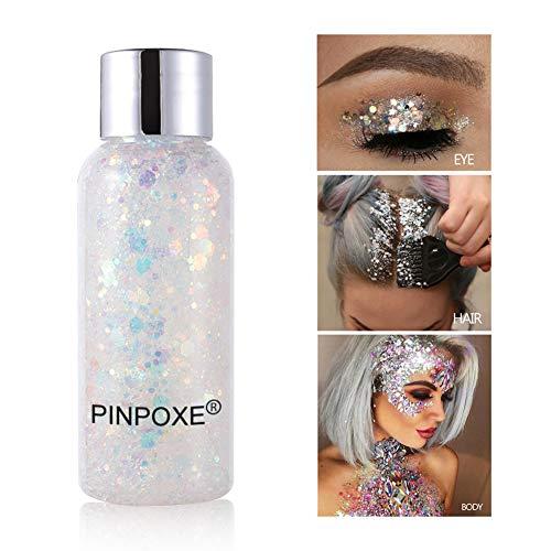 Brillos corporales, Purpurinas Polvo, Purpurina para Cara Cuerpo Maquillaje Pelo Rostro Uñas Mejilla, Glitter Flakes Paillette para Rostro, Brillante Decoración para Pelo
