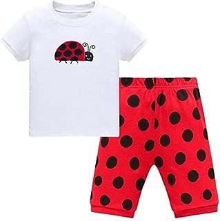 Babygp Ladybug Little Girls Shorts 2 Piece Pajama 100% Cotton(Size:2-10 Years)