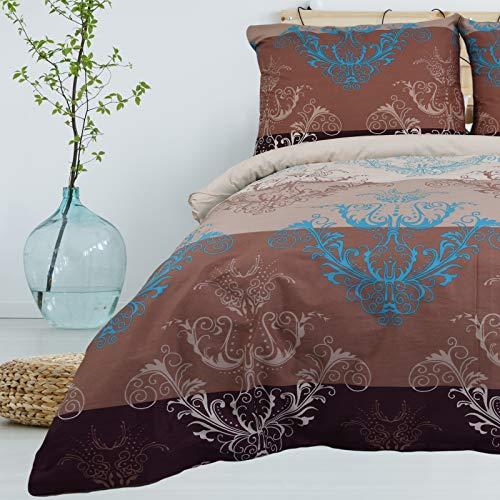 Bettwäsche 2 TLG 135x200 cm Deckenbezug 80x80 cm Kissenbezug 100% Baumwolle Renforce Reißverschluss Bettwäscheset Bettwäschebezug Bettwäscheüberzug, Muster