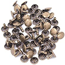 Trimming Shop Double Cap Rivets, Tubular Brass Studs for Clothing Repair & Replacements, Sewing, Leather Crafting, DIY Projects, 10mm x 9mm, Bronze, 100 Sets