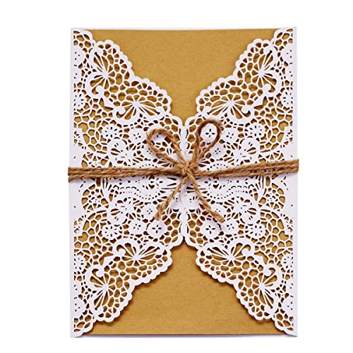 LONGBLE bruiloft uitnodigingskaarten felicitatie kaarten, 20 stuks lasergesneden trouwuitnodigingen met henneptouw incl. enveloppen voor bruiloft, verjaardag, doop, bruidsdouche
