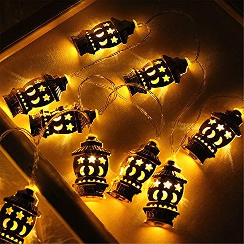 RYSF Luces de Ramadán Kareem con pilas de estrellas y palacio de la luna LED Eid decoración de la cadena de luces musulmanas suministros para fiestas (color 3M 20leds, tamaño: 3M 20leds)