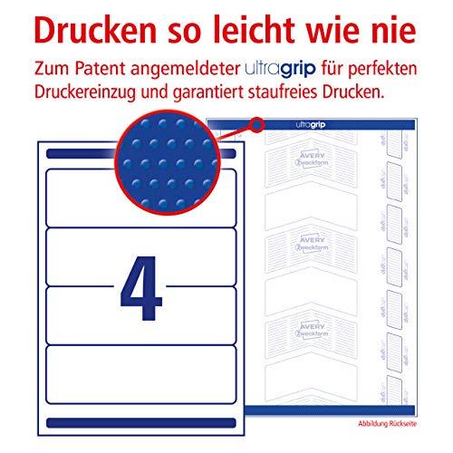Avery Zweckform L4761-100 Ordnerrücken Etiketten (A4, 400 Rückenschilder, breit/kurz, selbstklebend, blickdicht, 61 x 192 mm) 100 Blatt weiß - 4