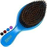 Benoo Wave Brush (Blue) - Medium Boar & Nylon All Stages 360 Wave Brush For Men 360, Curved Medium Wave Brush, Nylon & Boar Bristle Hair Brush, Works with Durag and Wave Cap