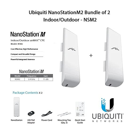 Ubiquiti NanoStationM2 Bundle of 2 NanoStationM Indoor/Outdoor airMAX CPE Router - NSM2 1 Ubiquiti NanoStation M2 NSM2 2.4GHz 2x2 MIMO Indoor/Outdoor airMAX CPE - Router 802.11n (2-Pack) Featuring a panel antenna and dual-polarity performance, the NanoStation M is ideal for Point-to-MultiPoint (PtMP) applications requiring high-performance CPE devices with a sleek form factor. The NanoStation M features the CPE design that expanded the global Wireless ISP industry.