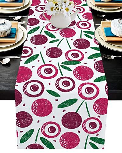 FAMILYDECOR Chemin de table en toile de jute pour tables de salle à manger 33 x 304,8 cm, motif cerise, fruits d'été, jardin, ferme, chemin de table pour fêtes, maison, cuisine, décorations de mariage
