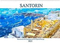 Santorin - Illustrationen der Kykladen Insel im Aquarell-Design (Wandkalender 2022 DIN A2 quer): Trauminsel der Aegaeis (Monatskalender, 14 Seiten )