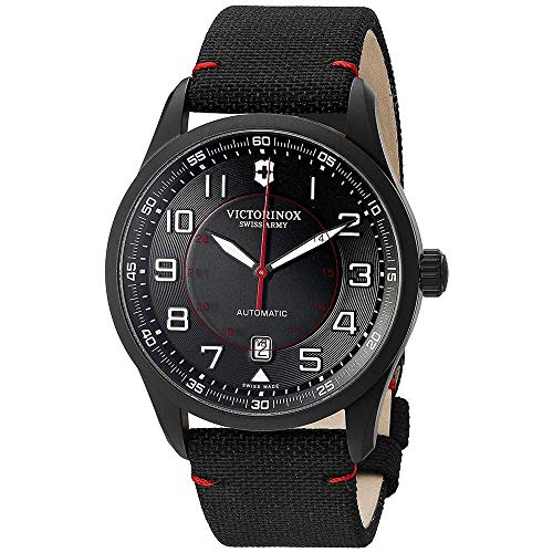 Victorinox Airboss Mechanical Black Edition für Herren - Automatikuhr aus Edelstahl/Stoff, Swiss Made, 241720