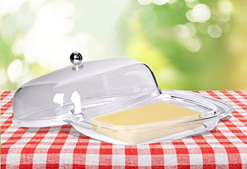 Premium Acrylic Butter/Cheese Fruit Dish Saver Tray Storage Lid Holder Transparent Cover