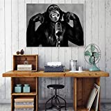 NIMCG Animal orangután música Mono Lienzo Pintura Sala decoración Cartel Negro Blanco Arte Pared Imagen (sin Marco) 40x50 cm