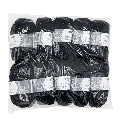 Gründl 3409–10 Hot Socks Pearl Uni, Avantage Pack de 10 à Tricoter 50 g de Laine pour Chaussettes, 75% Laine (Mérinos Superwash), 20% Polyamide, 5% Cachemire, Noir, 40 x 37 x 11 cm