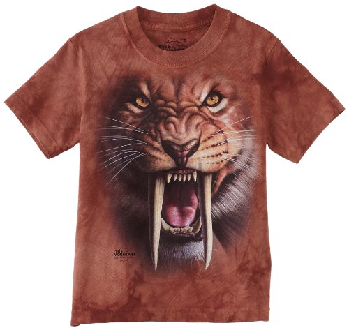 The Mountain Sabertooth Tiger Child T-Shirt, Brown and Red, Medium