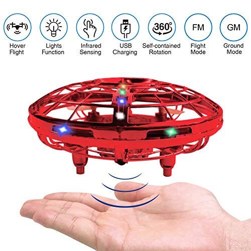 RAND SET Versión Mejorada del Mini Drone UFO de Juguete con Luces LED Sensor de Infrarrojos de Juguete Volador Control Manual Juguete Volador Recargable Fácil de Usar-Rojo