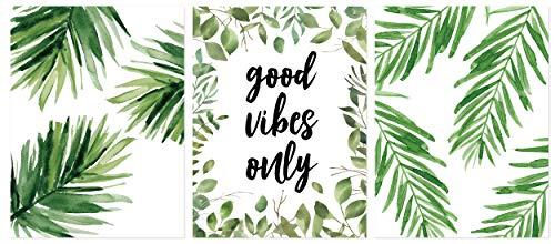 KAIRNE 3er Set Poster Set Wohnzimmer | Grüne Blätter Bilder | Moderne Premium Poster Set | Bilder Sprüche Zitate | Pflanze Wandbilder für Wohn-Schlafzimmer Deco | Aquarell Blätt Posters,Ohne Rahmen