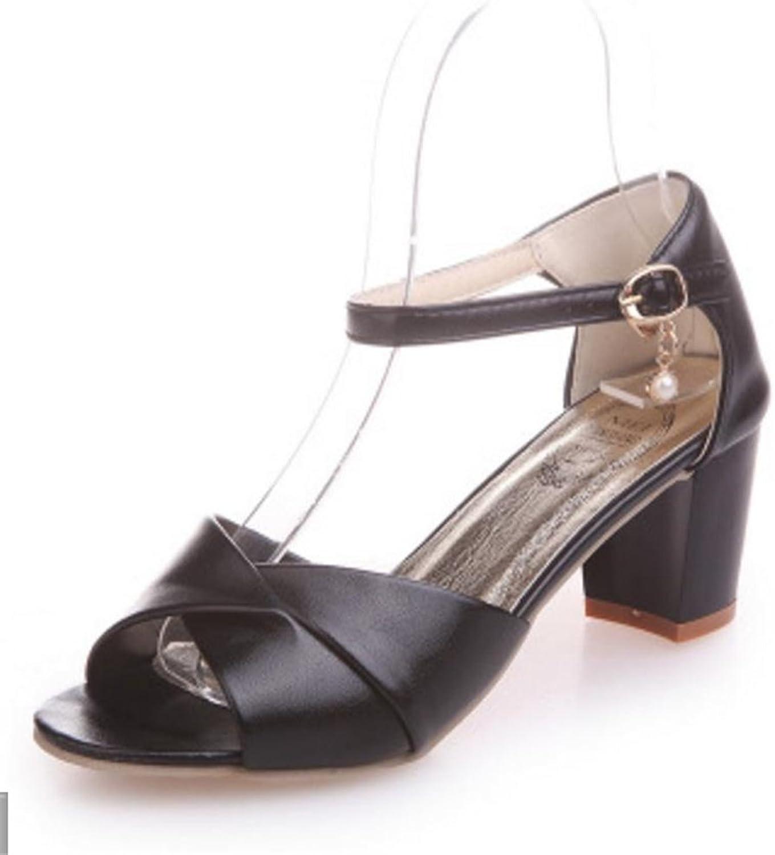 PRETTYHOMEL Womens shoes Chunky Mid Heel Ankle Strap Heeled Sandals Dress Pump Sandal
