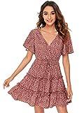 SheIn Women's Short Ruffle Sleeve Dress V Neck Floral Pleated High Waist Loose Mini Dress Red X-Small