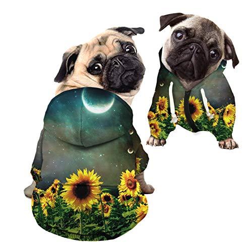 HUGS IDEA Sudadera con capucha para perro, diseño de girasol y luna estrellada noche con sombrero, camiseta fina de verano con capucha para perros pequeños y medianos – M
