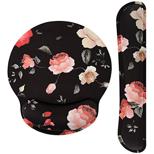 MoKo Keyboard Wrist Rest Pad and Mouse Pad Wrist Support, Ergonomic Raised Memory Foam, Non Slip PU Rubber Base [Pain Relief] for Office, Computer, Laptop, Typist, Gamer - Black with Peony