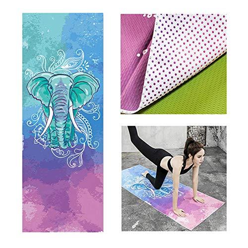 Lumanby Toalla de yoga manta de yoga impresa toalla de yoga antideslizante Yoga Mat Yoga cojín 72 x 25 pulgadas