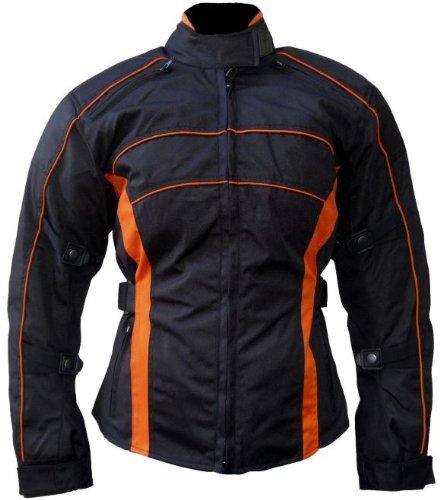 Heyberry Damen Motorrad Jacke Motorradjacke Schwarz Orange Gr.XXL - 4