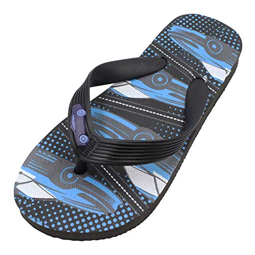 SLM Boy's Classic Flip Flops Cool T-Strap Race Car Summer Sandals Black