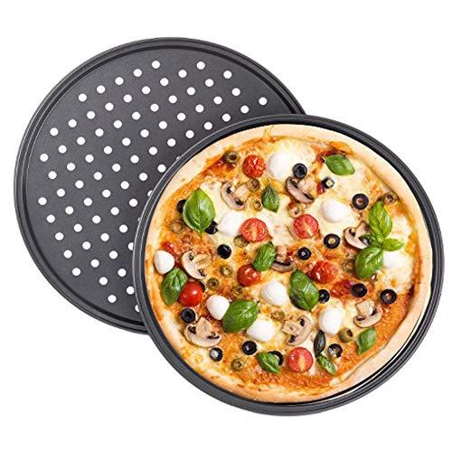 Tiamu Bandeja Redonda para Pizza [2 Piezas], Bandejas Pizza Horno Redondas 28cm