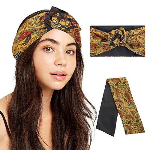 HAIMEIKANG Turban Headbands for Women Flower Printed Princess Headwrap Silk Wire Headwear Boho Head Scarf (Yellow)