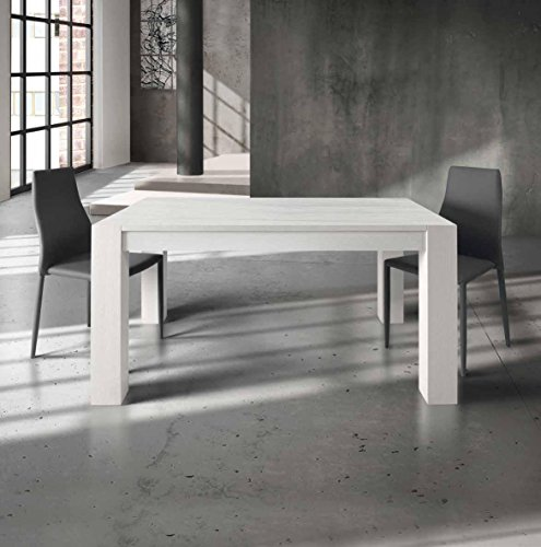 InHouse srls Table en Bois de chêne brossé Blanc avec 2 rallonges de cm. 40; Dimensions cm. 140X90; avec rallonges cm. 220X90.