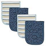 Gerber Baby Boys 4-Pack Flannel Burp Cloth, Dinosaur Blue, One Size