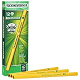 TICONDEROGA Beginner Primary Size Pencils, Wood-Cased #2 HB Soft Without Eraser, Yellow, 12-Pack (13080)