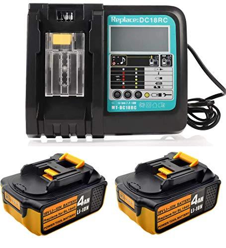 2 baterías de repuesto de 18 V y 4,0 Ah para Makita BL1850, BL1840, BL1830, LXT400 + cargador de repuesto de 3 A DC18RA DC18RC 3 A, 14,4 V ~ 18 V, cargador con pantalla
