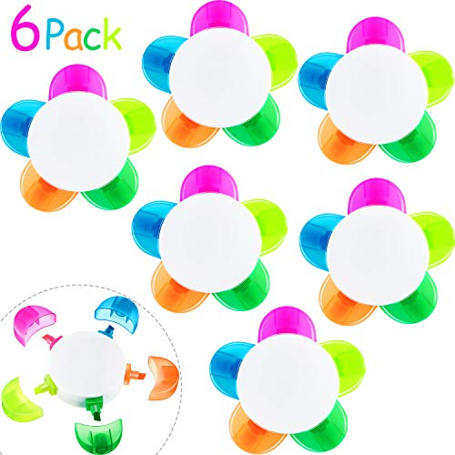 6 Piece Petals Highlighters, Flower Shape Watercolor Highlighter Pens, 5-In-1 Fluorescent Pens for School Office Stationery Supplies, 5 Assorted Colors