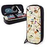 Estuches de lápices con cremallera multiusos para la escuela, suministros de oficina, diseño de setas y plantas (19)