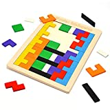 Fricon Toys for 3-8 Year Old Boys, Wooden Tetris Puzzle Toys for Kids Age 3-8 Education Building Blocks Games Birthday Gifts for 3-8 Year Old Girls Toddler Puzzles for Kids Age 3-8 KMUSWTP01