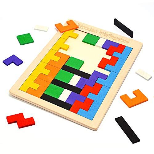 Kimy Kinderspielzeug ab 3 4 5 6 7 Jahren Jungen, Mädchen Geschenke 3-10 Jahre Tetris Holzpuzzle für Kinder Spielzeug Jungen 3-10 Jahre Puzzle ab 3-10 Jahre Geschenke für Jungen Spielzeug für Jungen
