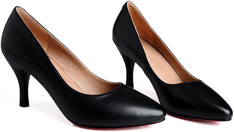 High Heel Leather Low-cut Women shoes OL black 39