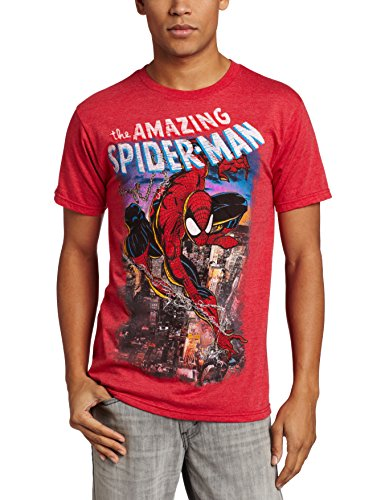 Marvel Amazing Spider-Man - Playera para Hombre, Rojo (Red Heather), X-Large