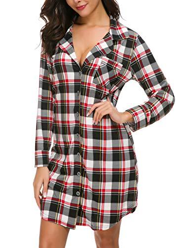 Women's Sexy Long Sleeve Nightshirt Red Plaid Pajama Top Button Nightie Sleepwear