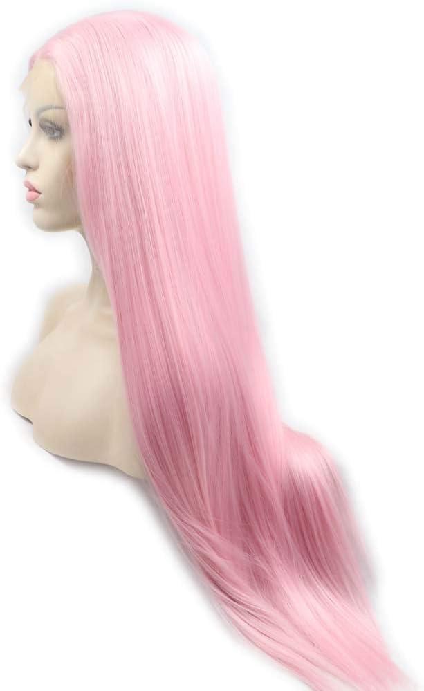 Peluca larga sedosa de pelo rosa para mujer, peluca sintética de encaje frontal de color rosa, resistente al calor, peluca de pelo largo de fibra de pelo medio para cosplay, de Xiweiya