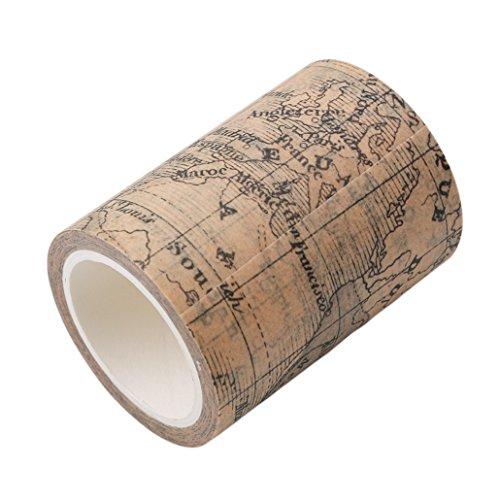 Chinget Vintage Washi Tape Dekoband Masking Tape Klebeband DIY Craft Dekorative Scrapbooking Geschenkpapier, Lange 8M (Weltkarte Stil)
